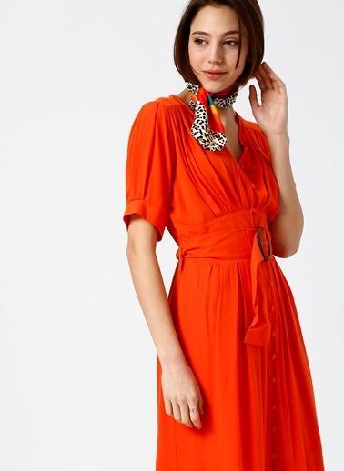 Random Önden Düğmeli Kuşaklı Midi Elbise Oranj